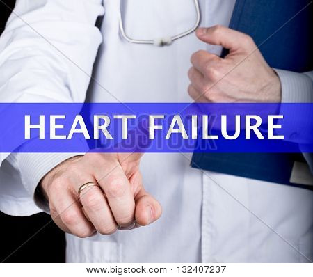 technology, internet and networking in medicine concept - medical doctor presses heart failure button on virtual screens. Internet technologies in medicine.