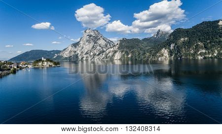 Aerial Beautiful Lake Austrian landscape Traunsee Gmunden
