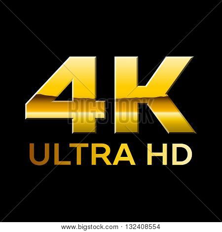4k Ultra HD format logo with shiny letters