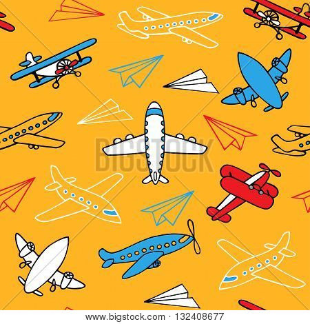 Seamless pattern of flying aircraft. Vector image of aircraft. Colorful and white airplanes on a yellow background. Can be used for Wallpaper, fabrics, packaging.