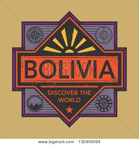 Stamp or vintage emblem with text Bolivia, Discover the World, vector illustration