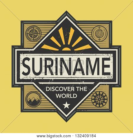 Stamp or vintage emblem with text Suriname, Discover the World, vector illustration