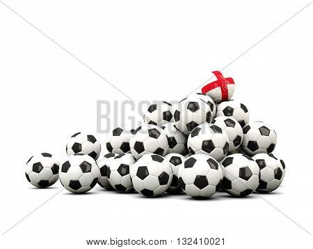 Pile Of Soccer Balls With Flag Of England