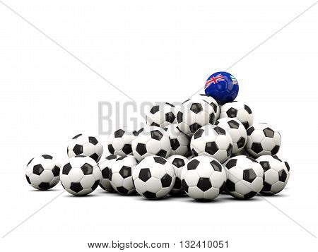 Pile Of Soccer Balls With Flag Of Falkland Islands