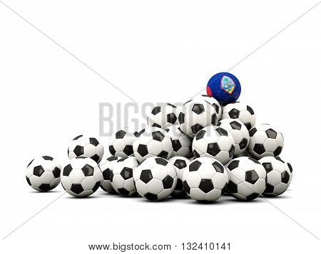 Pile Of Soccer Balls With Flag Of Guam