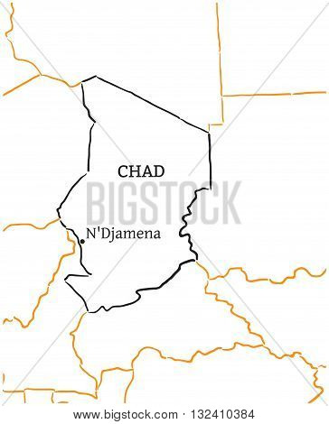 Chad country with its capital NDjamena in Africa hand-drawn sketch map isolated on white