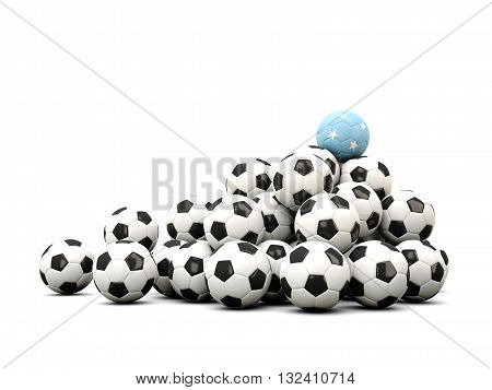 Pile Of Soccer Balls With Flag Of Micronesia