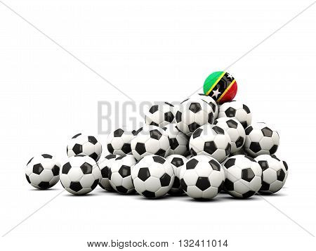 Pile Of Soccer Balls With Flag Of Saint Kitts And Nevis