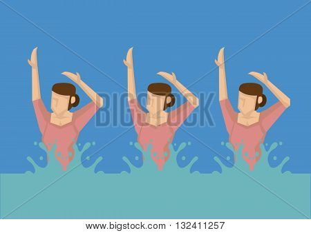 Vector illustration of a group of cartoon women swimmers in water doing synchronized swimming.