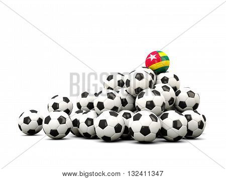 Pile Of Soccer Balls With Flag Of Togo
