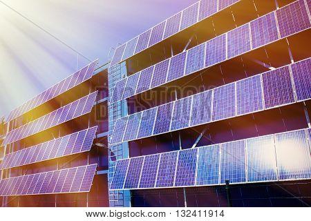 solar panel and renewable energy against blue sunny sky