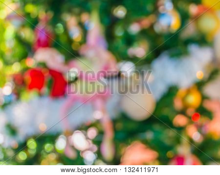 Blur Image Of Christmas Ornaments And Vary Of Decoration.