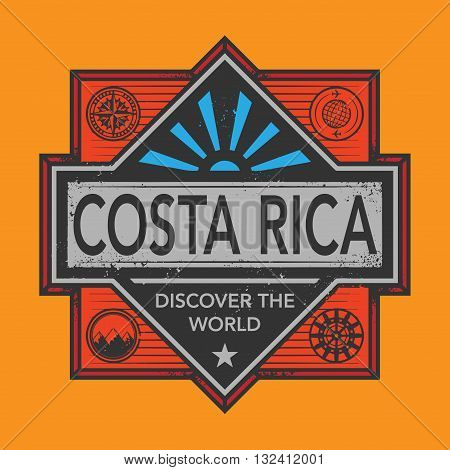 Stamp or vintage emblem with text Costa Rica, Discover the World, vector illustration
