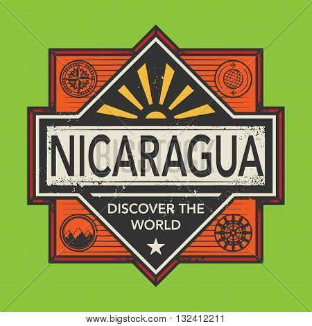 Stamp or vintage emblem with text Nicaragua, Discover the World, vector illustration