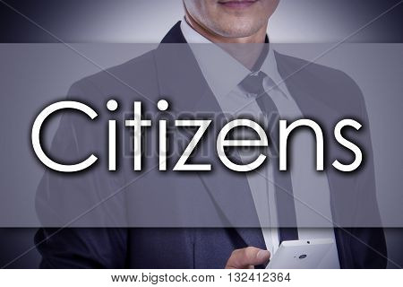 Citizens - Young Businessman With Text - Business Concept