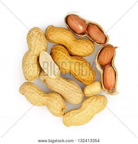 shelled and open peanuts isolated on white