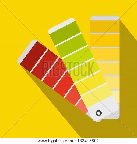 Paint color selection booklet icon in flat style on a yellow background