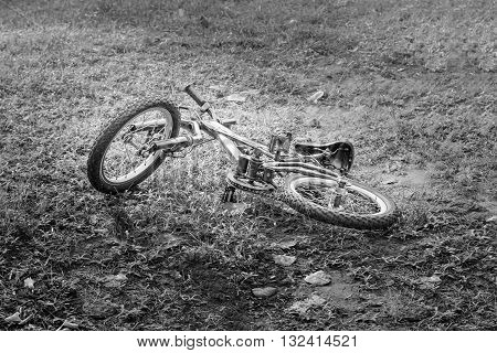 Mountain bike on the ground image black and white