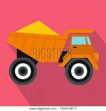 Dump truck with sand icon in flat style on a pink background