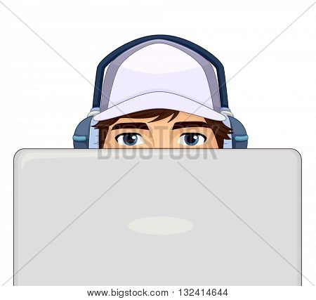 Illustration of a Teenage Boy Using a Laptop