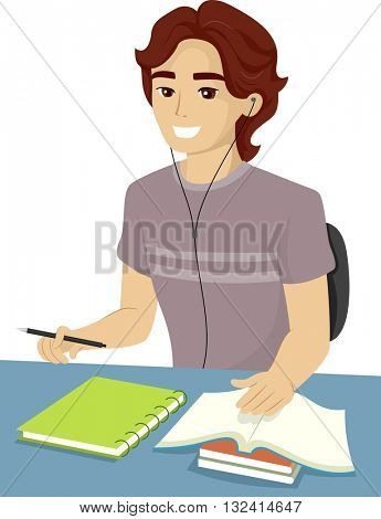 Illustration of a Teenage Boy Reviewing for an Exam