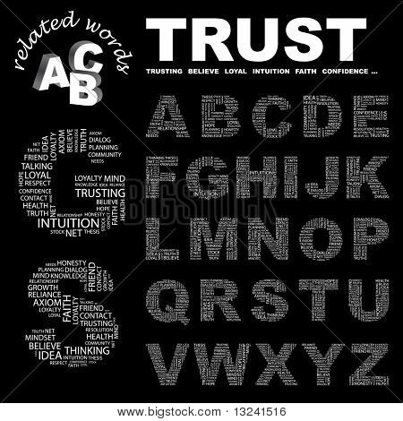 TRUST. Vector letter collection. Illustration with different association terms.
