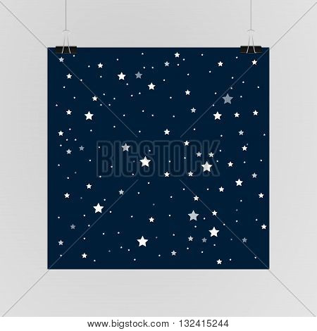 Abstract background. A poster on the wall at the terminals of the paper. Starry sky background. EPS 10.