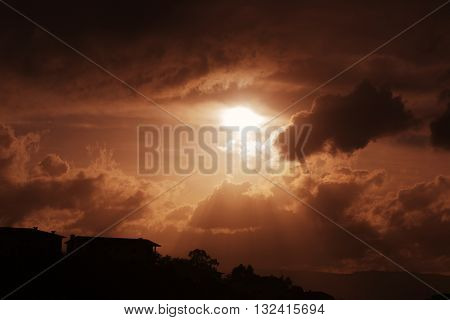 sunset with sunrays in the north of Portugal