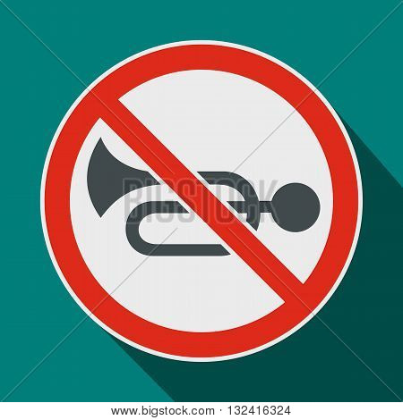 No horn traffic sign icon in flat style on a blue background