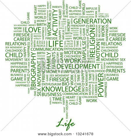 LIFE. Word collage on white background. Illustration with different association terms.