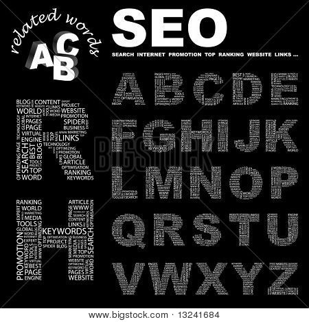 SEO. Vector letter collection. Illustration with different association terms.