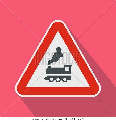 Warning sign railway crossing without barrier icon in flat style on a pink background