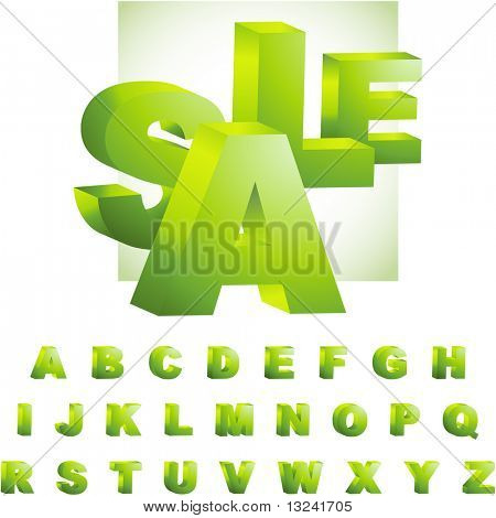 Grüne 3d Alphabet. Vector-Set.