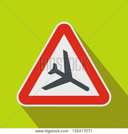 Warning sign of low flying aircraft icon in flat style on a green background