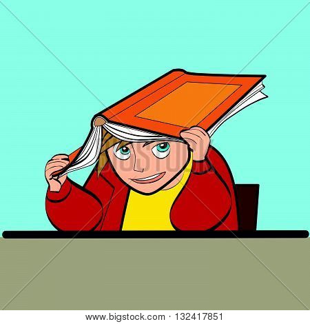 a schoolboy at a Desk with textbook line art caricature. Lifestyle. School life. The kids at school