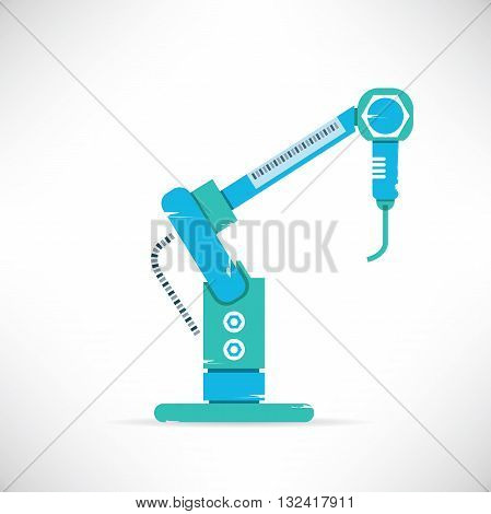 industrial robotic hand production line in white background
