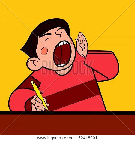 Student shouts in class line art caricature. The boy shouts. The character shouts loud vector illustration