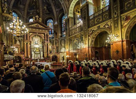 Piekary Slaskie Poland May 29 2016 .: The interior of the Basilica of Our Lady of Piekary before the solemn pilgrimage of men and youths to the Virgin Mary