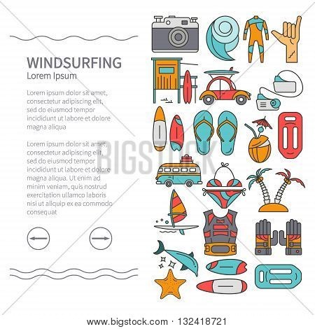 Linear Design Windsurfing brochure template leaflets. Sail board wave wetsuit starfish swimsuit. The concept of an active summer holiday. Family holiday.