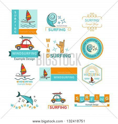 Vector label design template for Windsurfing Center or travel agencies windsurfing. For outdoor enthusiasts of the sea and an active lifestyle. Family summer vacation.