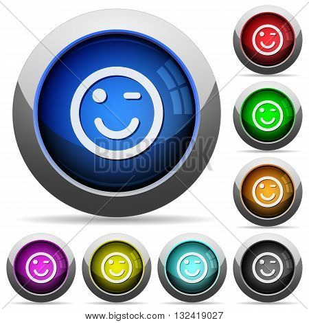 Set of round glossy Winking emoticon buttons. Arranged layer structure.