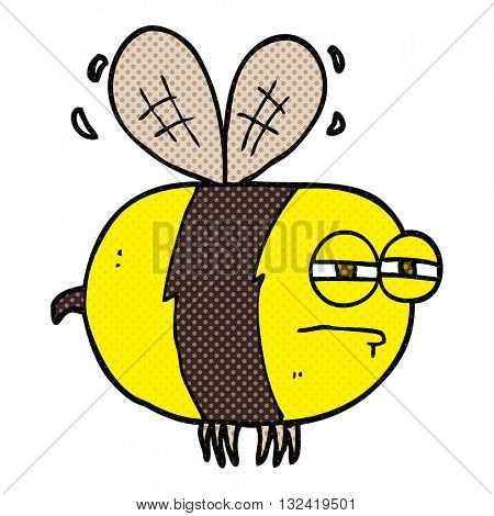 freehand drawn cartoon unhappy bee