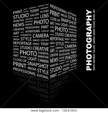 PHOTOGRAPHY. Word collage on black background. Illustration with different association terms.