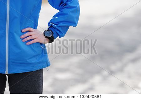 Watch for sports with stop watch. Jogging training for marathon.