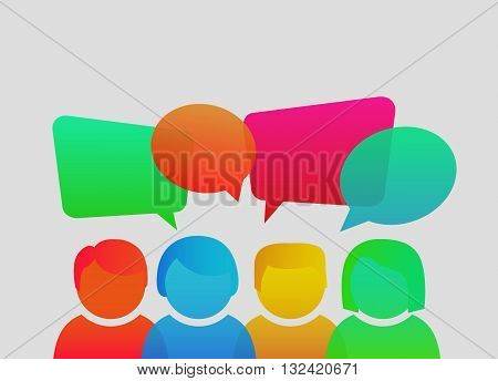 People icons with colorful dialog speech bubbles. Men and women avatar profile picture set. Vector illustration. Businessmen, coworkers, think, question.