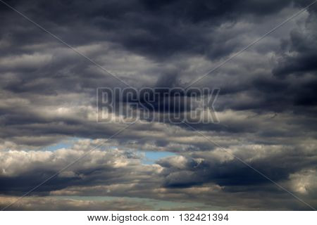 Sky and dark clouds before rain. Natural background