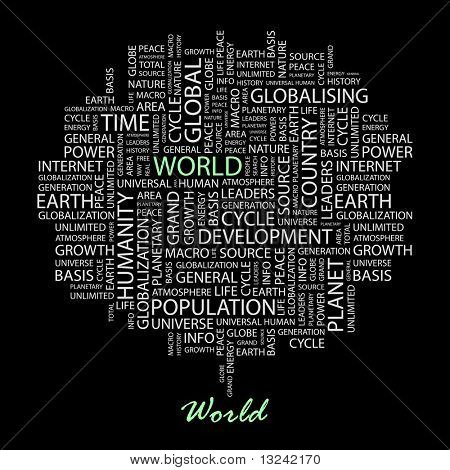 WORLD. Word collage on black background. Illustration with different association terms.