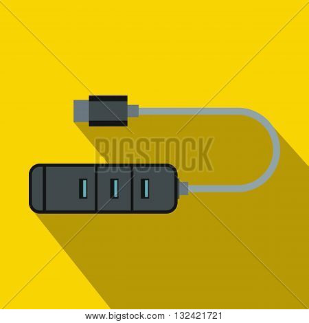 USB adapter connectors icon in flat style on a yellow background