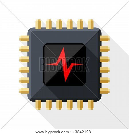 Vector CPU or Processor test icon. CPU or Processor test simple icon in flat style with long shadow on white background