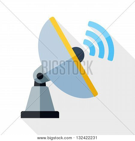 Vector Satellite Antenna icon. Satellite Antenna simple icon in flat style with long shadow on white background